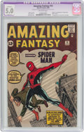 Silver Age (1956-1969):Superhero, Amazing Fantasy #15 (Marvel, 1962) CGC Apparent VG/FN 5.0 Slight (A) Off-white pages....