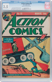 Action Comics #22 (DC, 1940) CGC VG- 3.5 Cream to off-white pages