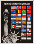 """Movie Posters:War, World War II Propaganda (U.S. Government Printing Office, 1942).OWI Poster No. 19 (22"""" X 28"""") """"The United Nations Fight for..."""