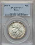 Commemorative Silver, 1936-S 50C Boone MS67 PCGS. PCGS Population: (70/3). NGC Census:(35/3). CDN: $750 Whsle. Bid for problem-free NGC/PCGS MS6...