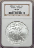 Modern Bullion Coins, 2008-W $1 Silver Eagle, Reverse of 2007, Burnished, MS70 NGC. NGC Census: (4592). PCGS Population: (460)....