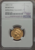 Three Dollar Gold Pieces, 1855-S $3 -- Improperly Cleaned -- NGC Details. XF. NGC Census: (17/100). PCGS Population: (21/85). CDN: $2,600 Whsle. Bid ...