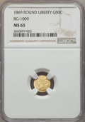 California Fractional Gold , 1869 50C Liberty Round 50 Cents, BG-1009, R.5, MS65 NGC. NGCCensus: (5/0). PCGS Population: (1/2). ...
