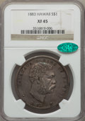 Coins of Hawaii , 1883 $1 Hawaii Dollar XF45 NGC. CAC. NGC Census: (78/239). PCGS Population: (205/304). Mintage 46,348. ...