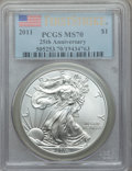Modern Bullion Coins, Five-Piece 2011 Silver Eagle 25th Anniversary Set, MS70-PR70 Deep Cameo PCGS. The set includes: 2011, First Strike, MS70; ... (Total: 5 coins)
