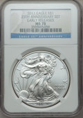 Modern Bullion Coins, Five-Piece 2011 Silver Eagle 25th Anniversary Set, Early Releases, MS70-PR70 Ultra Cameo NGC. The set includes: 2011 MS70;... (Total: 5 coins)