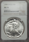 Modern Bullion Coins: , 1988 $1 Silver Eagle MS70 NGC. NGC Census: (449). PCGS Population: (30). ...