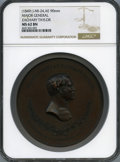 U.S. Mint Medals, (1849) Maj. Gen. Zachary Taylor, Julian MI-24, Copper, MS62 Brown NGC. 90 mm. Designed by noted New York engraver Charles Cu...