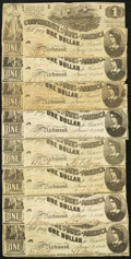 Confederate Notes:1862 Issues, T44 $1 1862 PF-3 Cr. 341. Eight Examples.. ... (Total: 8 notes)