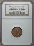 Errors, 1945 1C Lincoln Cent -- Double Struck, Flip over in Collar -- MS63 Brown NGC....