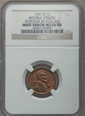 Errors, 1947-D 1C Lincoln Cent -- Doubled Struck, Flipover in Collar -- MS62 Red and Brown NGC....