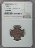 Civil War Merchants, 1863 R.S. Torrey, Bangor, ME, AU53 NGC, Fuld-100A-1a. The onlymerchant to issue tokens in Maine....