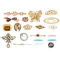 Estate Jewelry:Brooches - Pins, Diamond, Multi-Stone, Seed Pearl, Enamel, Gold, Yellow Metal Brooches . ... (Total: 20 Items)