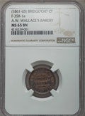Civil War Merchants, (1861-1865) A.W. Wallace, Bridgeport, CT, MS65 Brown NGC.Fuld-CT35B-1a; 1864 H. Dobson, Providence, RI, MS65 Brown NGC,Fuld-... (Total: 4 coins)