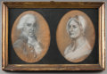 Fine Art - Work on Paper:Drawing, American School (19th century) . Two Portraits of a Late 18thCentury Man and Woman (two works housed in single frame). ...