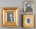 Decorative Arts, Continental:Other , Two Continental Framed Portrait Miniatures of Gentlemen withSilhouette, 19th century. 3-5/8 x 3 inches (9.2 x 7.6 cm) (sigh...(Total: 3 Items)