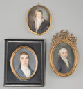 Decorative Arts, Continental:Other , Three Continental Portrait Miniatures of Gentlemen, late 18th-early19th century. 2-3/4 inches high x 1-7/8 inches wide (7.0... (Total:3 Items)