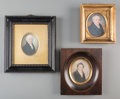 Decorative Arts, Continental:Other , Three Continental Portrait Miniatures of Gentleman, early 19thcentury. 3-1/4 inches high x 2-5/8 inches wide (8.3 x 6.7 cm)...(Total: 3 Items)