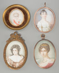 Decorative Arts, Continental:Other , Four Continental Portrait Miniatures of Women and Child, 19thcentury. 2-3/4 inches high x 2 inches wide (7.0 x 5.1 cm) (sig...(Total: 4 Items)