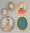 Decorative Arts, Continental:Other , Four Continental Miniature Portraits of Gentlemen IncludingMilitary Officers, late 18th-early 19th century. 2-3/4 inches hi...(Total: 4 Items)