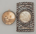 Decorative Arts, Continental:Other , Two Grisaille Miniature Plaques Mounted as a Sash Buckle andPendant, late 18th-early 19th century. 3-3/8 inches high x 2 in...(Total: 2 Items)