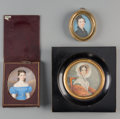 Decorative Arts, Continental:Other , Three Continental Portrait Miniatures of Women, 19...