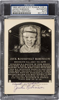 Baseball Collectibles:Others, 1956 Jackie Robinson Signed Artvue Hall of Fame Plaque Postcard, PSA/DNA Authentic....