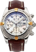 Timepieces:Wristwatch, Breitling Ref A13356 Two Tone Chronomat Evolution With Mother-of-Pearl Diamond Dial. ...