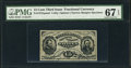 Fractional Currency:Third Issue, Fr. 1272SP 15¢ Third Issue Narrow Margin Face PMG Superb Gem Unc 67 EPQ.. ...