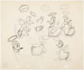 animation art:Model Sheet, Donald's Better Self Angel Donald Duck Animator's PracticeModel Sheet (Walt Disney, 1939)....