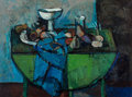 Fine Art - Painting, American, Robert Aaron Frame (American, 1924-1999). Still Life on a GreenTable. Oil on canvas. 30 x 40 inches (76.2 x 101.6 cm). ...