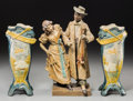 Ceramics & Porcelain, Continental:Other , A Pair of Continental Ceramic Airplane Vases with an AustrianCeramic Figural Group, early 20th century. 16-3/4 inches high ...(Total: 3 Items)