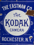 General Americana, An Eastman Company Porcelain Enamel on Steel Advertising Sign forthe Kodak Camera, circa 1890. 23-3/4 inches high x 17-3/4 ...