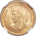 Commemorative Gold, 1905 G$1 Lewis and Clark Gold Dollar MS66+ NGC....