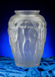 R. Lalique Frosted Glass Palestre Vase Circa 1928. Molded R. LALIQUE, FRANCE M p. 441, No. 1012. Ht. 16 in