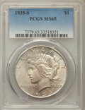 Peace Dollars: , 1935-S $1 MS65 PCGS. PCGS Population: (761/162). NGC Census:(408/64). CDN: $1,100 Whsle. Bid for problem-free NGC/PCGS MS6...