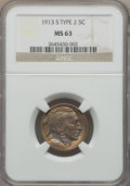 Buffalo Nickels, 1913-S 5C Type Two MS63 NGC....