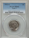 Buffalo Nickels, 1913-S 5C Type Two MS64 PCGS....