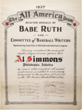 Baseball Collectibles:Others, 1927 All-American Team Certificate Signed by Babe Ruth from The AlSimmons Collection....