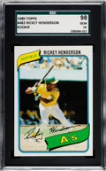 Baseball Cards:Singles (1970-Now), 1980 Topps Rickey Henderson #482 SGC 98 Gem 10 - Pop Three, None Higher. ...