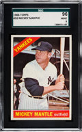 Baseball Cards:Singles (1960-1969), 1966 Topps Mickey Mantle #50 SGC 96 Mint 9 - Pop Four, None Higher....