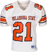 1986-88 Barry Sanders Game Worn Oklahoma State Cowboys Jersey, MEARS A10 - Photo Matched