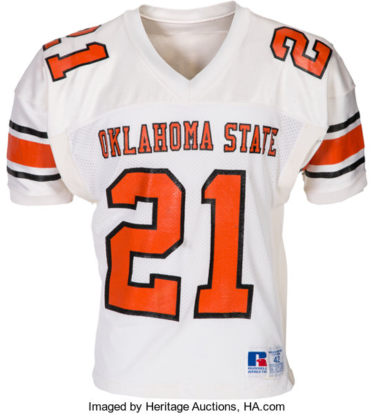 separation shoes bf1d7 f41b0 1986-88 Barry Sanders Game Worn Oklahoma State Cowboys ...