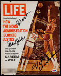 "Football Collectibles:Photos, Wilt Chamberlain & Kareem Abdul Jabbar Signed ""Life"" MagazineCover. ..."