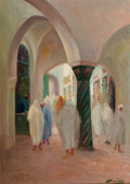 Fine Art - Painting, European:Modern  (1900 1949)  , Vassilis Magiassis (Greek, 1880-1926). A North African Interiorwith Figures. Oil on canvas. 24 x 18 inches (61.0 x 45.7...
