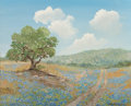 Fine Art - Painting, American, Robert Harrison (American, 20th Century). Bluebonnet Path.Oil on canvasboard. 16 x 20 inches (40.6 x 50.8 cm). Signed l...