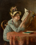 Fine Art - Painting, American:Antique  (Pre 1900), Maria R. Dixon (American, 19th Century). Woman in Bonnet Readinga Book. Oil on canvas. 17-1/4 x 14 inches (43.8 x 35.6 ...