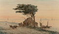 Works on Paper, Shepard Alonzo Mount (American, 1804-1868). View on Long Island Sound with Bay, House, and Carriages. Watercolor on pape...