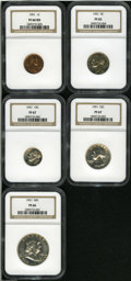Proof Sets: , 1951 1C PR 66 Red NGC; 1951 5C PR 65 NGC; 1951 10C PR 67 NGC; 1951 25C PR 67 NGC; 1951 50C PR 66 NGC.... (Total: 5 Coins)