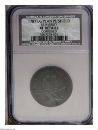 1787 COPPER New Jersey, Large Planchet, Plain Shield, Brown, Corroded NCS VF Details. PCGS Population (13/91). NGC Censu...
